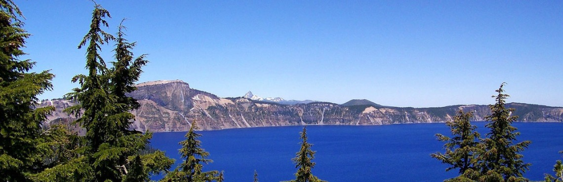 Oregon Mountains Pine Trees Lake Crater Lake Blue